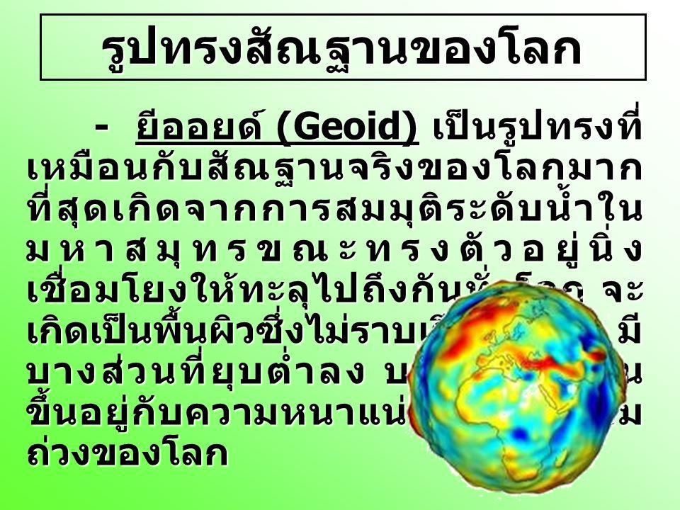 รูปทรงสัณฐานของโลก - ยีออยด์ (Geoid) เป็นรูปทรงที่ เหมือนกับสัณฐานจริงของโลกมาก ที่สุดเกิดจากการสมมุติระดับน้ำใน มหาสมุทรขณะทรงตัวอยู่นิ่ง เชื่อมโยงให