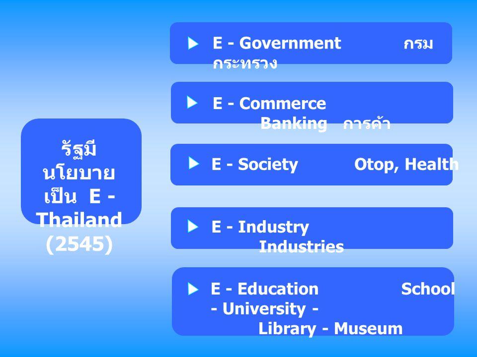 รัฐมี นโยบาย เป็น E - Thailand (2545) E - Government กรม กระทรวง E - Commerce Banking การค้า E - SocietyOtop, Health E - Industry Industries E - Educa