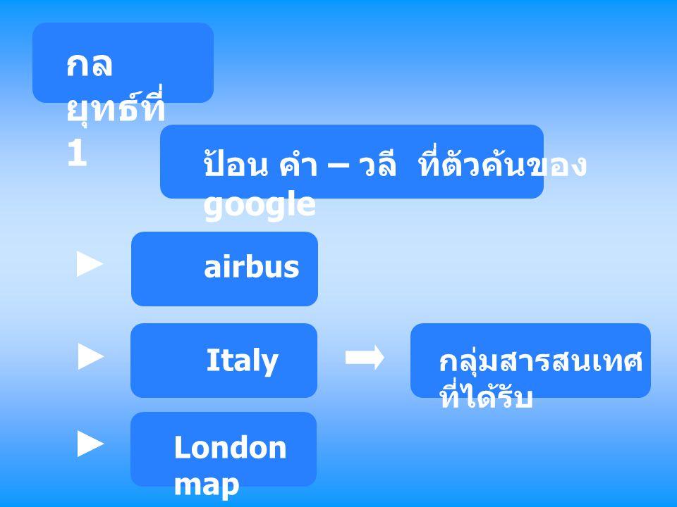 กล ยุทธ์ที่ 1 ป้อน คำ – วลี ที่ตัวค้นของ google กลุ่มสารสนเทศ ที่ได้รับ airbus Italy London map