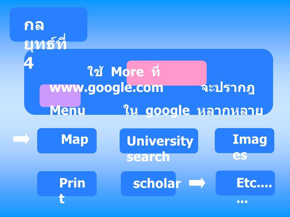 ใช้ More ที่ www.google.com จะปรากฎ Menu ใน google หลากหลาย Map University search Imag es Prin t scholar Etc....... กล ยุทธ์ที่ 4