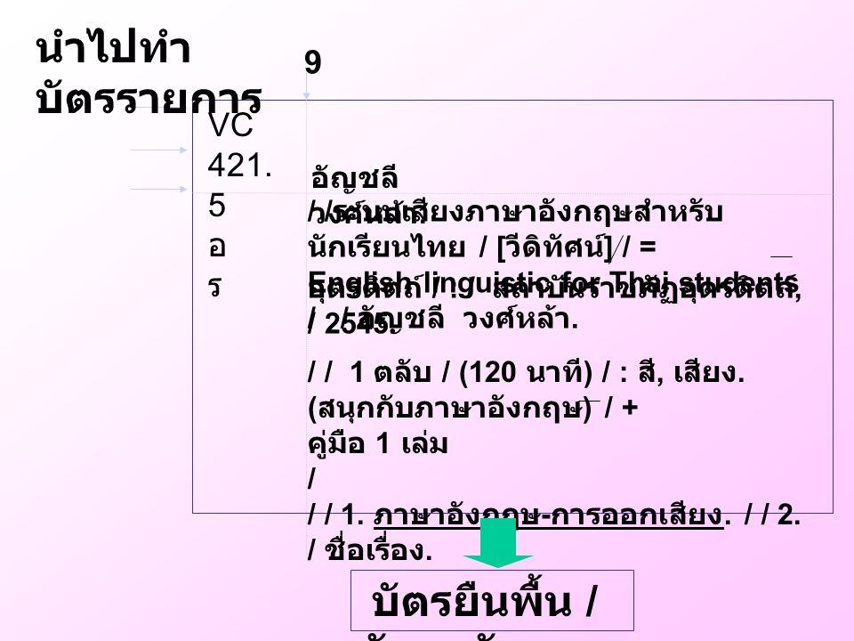 9 / / ระบบเสียงภาษาอังกฤษสำหรับ นักเรียนไทย / [ วีดิทัศน์ ] / = English linguistic for Thai students / / อัญชลี วงศ์หล้า. อุตรดิตถ์ / : / สถาบันราชภัฏ