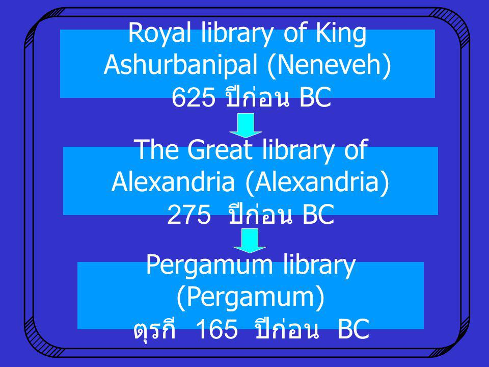 Royal library of King Ashurbanipal (Neneveh) 625 ปีก่อน BC Pergamum library (Pergamum) ตุรกี 165 ปีก่อน BC The Great library of Alexandria (Alexandria