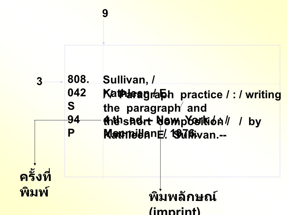 3 9 Sullivan, / Kathleen / E. ครั้งที่ พิมพ์ / / Paragraph practice / : / writing the paragraph and the short composition / / by Kathleen E. Sullivan.