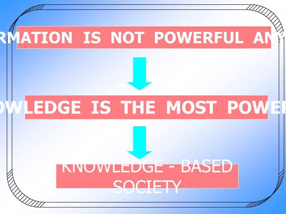 INFORMATION IS NOT POWERFUL ANYMORE KNOWLEDGE IS THE MOST POWERFUL KNOWLEDGE - BASED SOCIETY