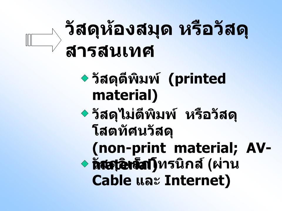 วัสดุห้องสมุด หรือวัสดุ สารสนเทศ วัสดุตีพิมพ์ (printed material) วัสดุไม่ตีพิมพ์ หรือวัสดุ โสตทัศนวัสดุ (non-print material; AV- material) วัสดุอิเล็ก