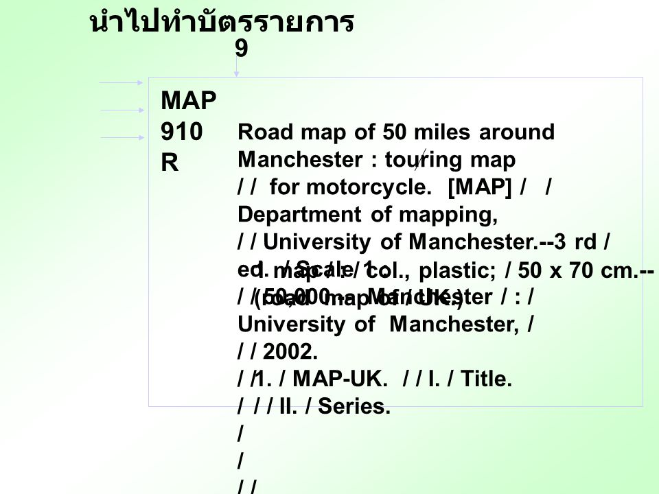 9 Road map of 50 miles around Manchester : touring map / / for motorcycle. [MAP] / / Department of mapping, / / University of Manchester.--3 rd / ed.