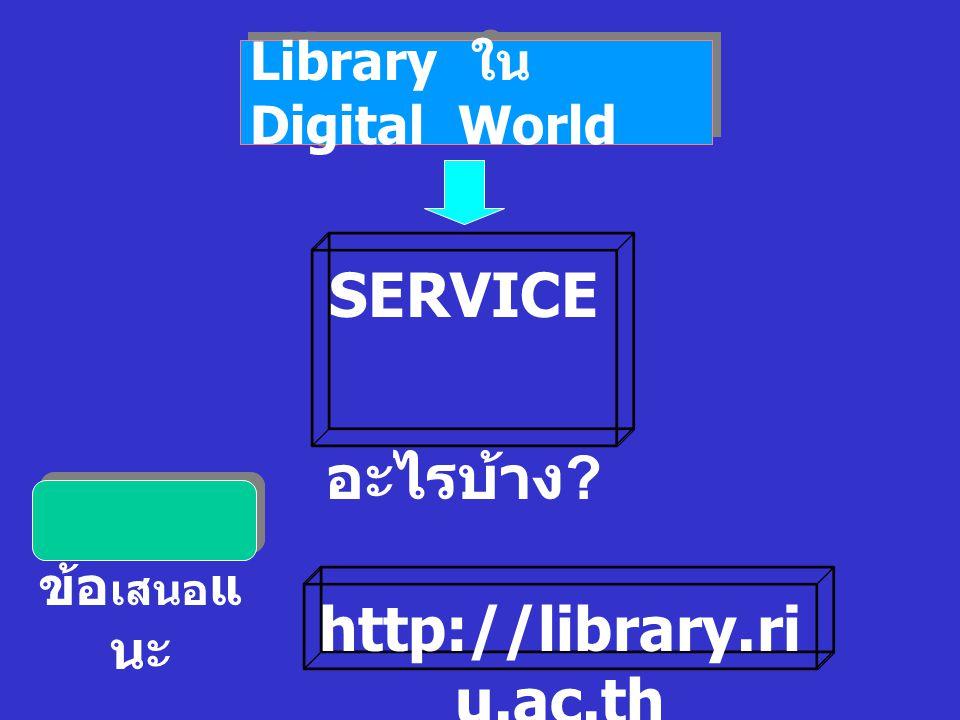 Library ใน Digital World ข้อ เสนอ แ นะ SERVICE อะไรบ้าง http://library.ri u.ac.th
