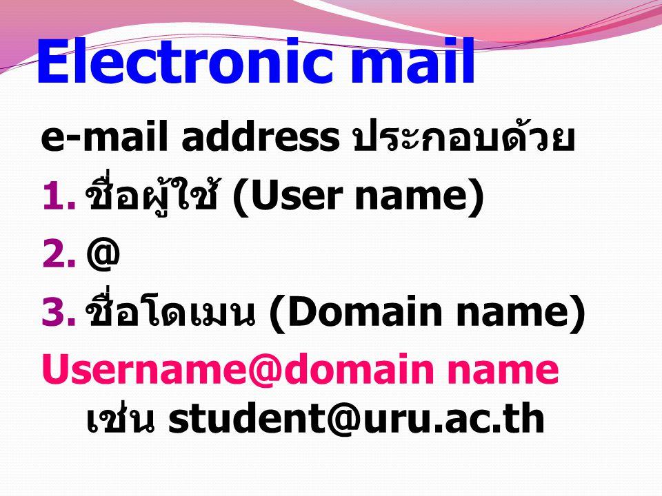 Electronic mail e-mail address ประกอบด้วย 1.ชื่อผู้ใช้ (User name) 2.