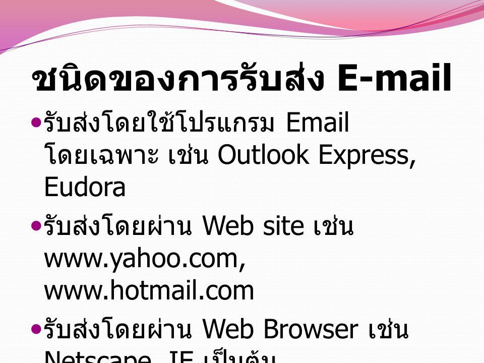 การทำงานของ E- Mail การทำงานของ E-mail มีลักษณะคล้ายกับระบบ ไปรษณีย์ปกติ กล่าวคือในระบบไปรษณีย์ปกติมี หน่วยงานที่ทำหน้าที่ในการรับส่งจดหมายคือ เป็นบรุษไปรษณีย์ ถ้าเป็นในอินเตอร์เน็ตสิ่งที่ทำ หน้าที่คอยรับส่งจดหมายคือบรรดาคอมพิวเตอร์ ทั้งหลายที่ทำหน้าที่เป็น E-mail Server ( คอมพิวเตอร์ที่ทำหน้าที่ให้บริการด้านจดหมาย อิเล็กทรอนิคส์ ) ดังนั้นถ้าท่านต้องการใช้ E-mail สิ่งแรกที่ท่านต้องทำคือไปสมัครเป็นสมาชิกหรือ ไปทำการลงทะเบียนกับอีเมลล์เซิร์ฟเวอร์ จะ เป็นเซิร์ฟเวอร์ใดก็ได้