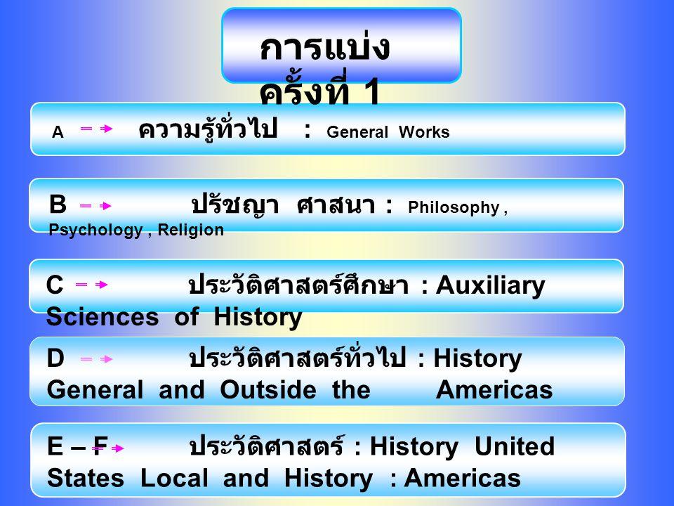 A ความรู้ทั่วไป : General Works B ปรัชญา ศาสนา : Philosophy, Psychology, Religion C ประวัติศาสตร์ศึกษา : Auxiliary Sciences of History D ประวัติศาสตร์