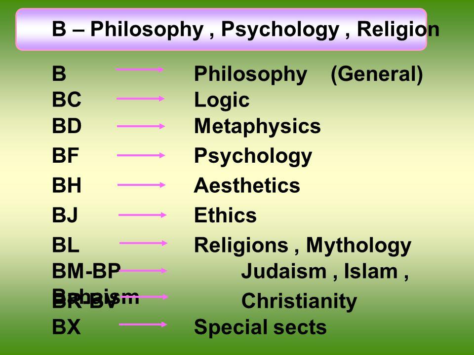 B – Philosophy, Psychology, Religion B Philosophy (General) BLReligions, Mythology BM-BP Judaism, Islam, Bahaism BR-BVChristianity BXSpecial sects BH