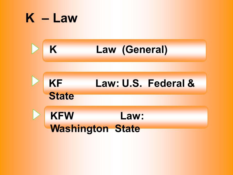 K – Law KLaw (General) KFLaw: U.S. Federal & State KFWLaw: Washington State