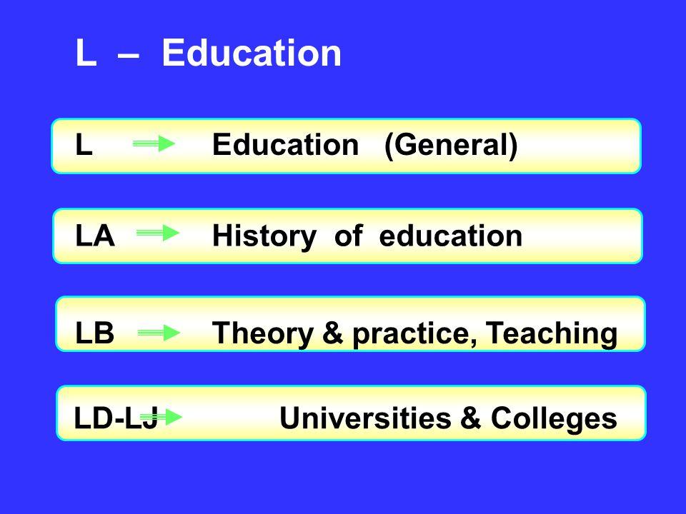 L – Education LEducation (General) LAHistory of education LBTheory & practice, Teaching LD-LJUniversities & Colleges