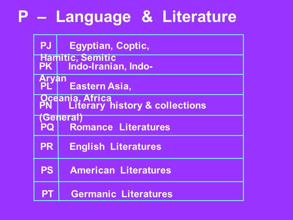 P – Language & Literature PJEgyptian, Coptic, Hamitic, Semitic PKIndo-lranian, Indo- Aryan PLEastern Asia, Oceania, Africa PNLiterary history & collec