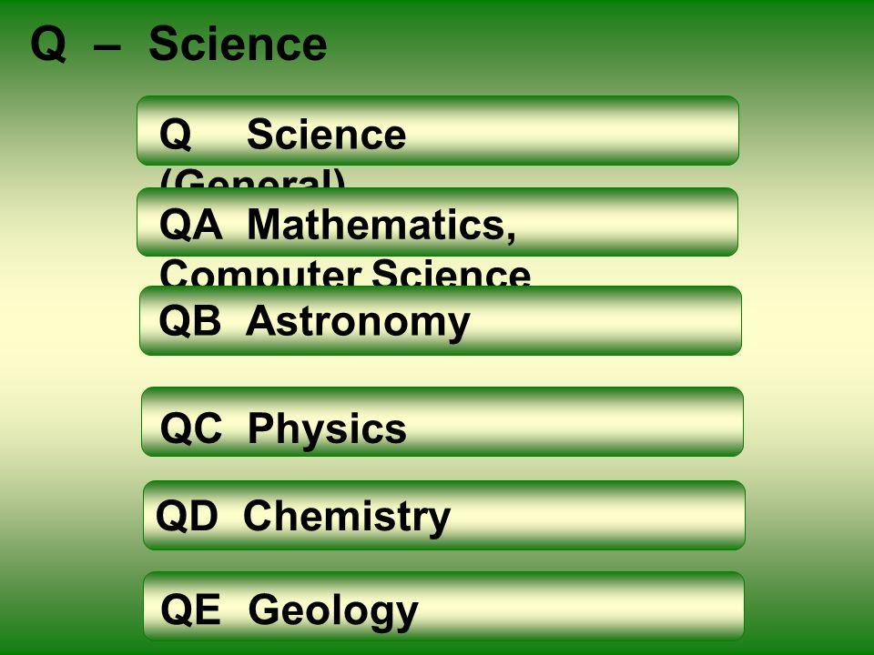 Q – Science QScience (General) QAMathematics, Computer Science QBAstronomy QCPhysics QDChemistry QEGeology