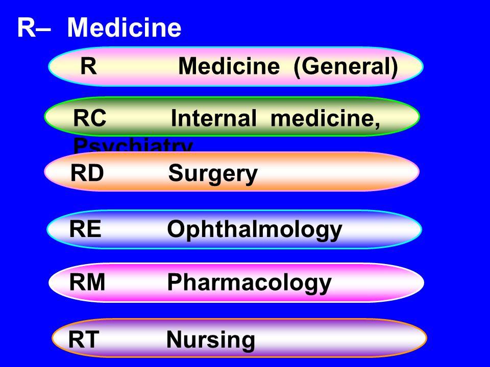 REOphthalmology R– Medicine RMedicine (General) RCInternal medicine, Psychiatry RDSurgery RMPharmacology RTNursing