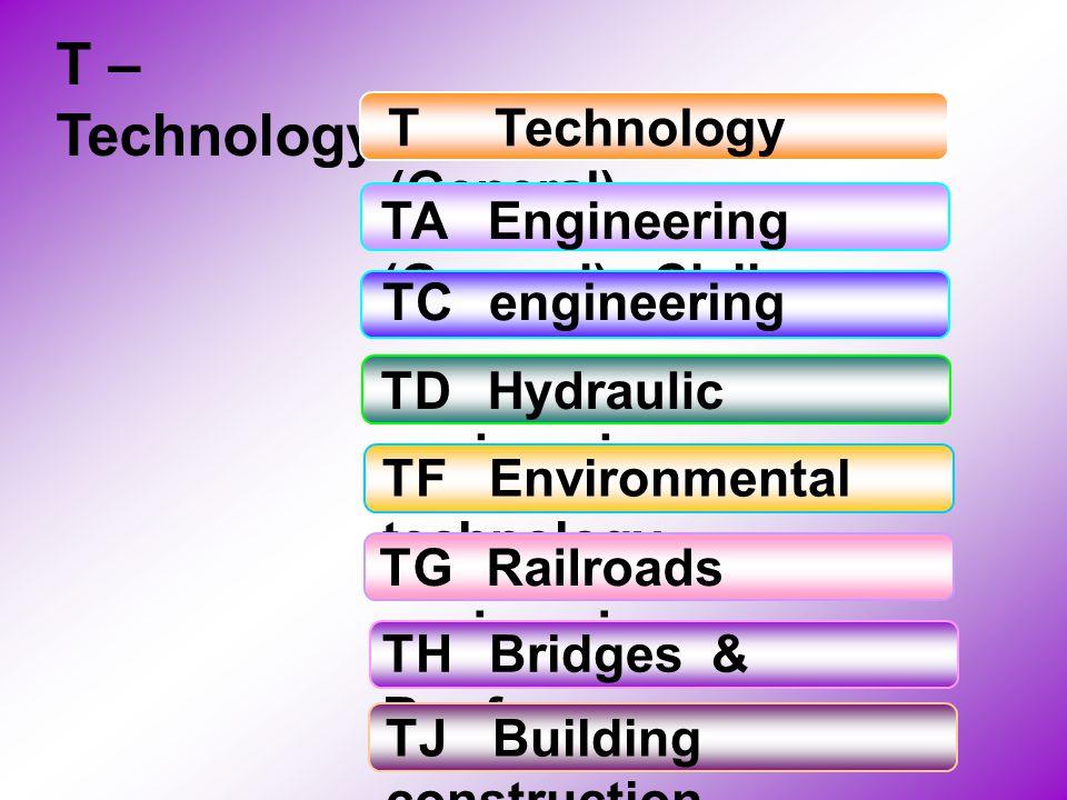 T – Technology TTechnology (General) TAEngineering (General), Civil TCengineering TDHydraulic engineering TFEnvironmental technology TGRailroads engin