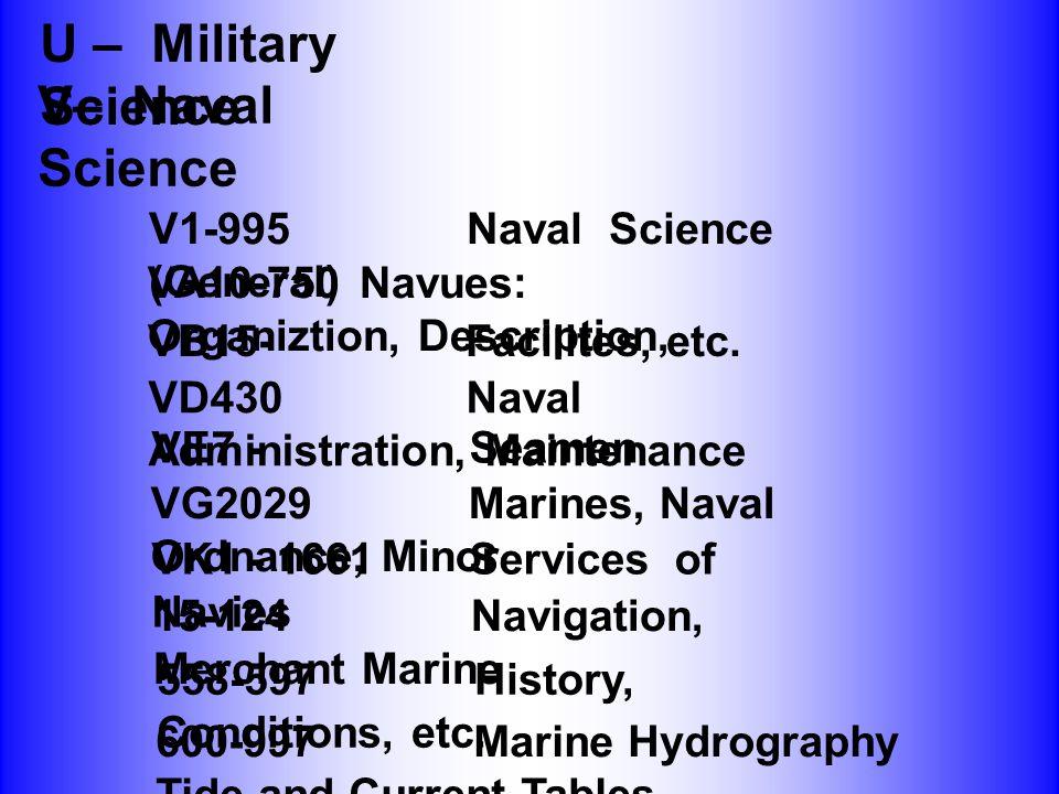U – Military Science V– Naval Science V1-995Naval Science (General) VA10-750Navues: Organiztion, Description, VB15-Facilites, etc. VD430Naval Administ