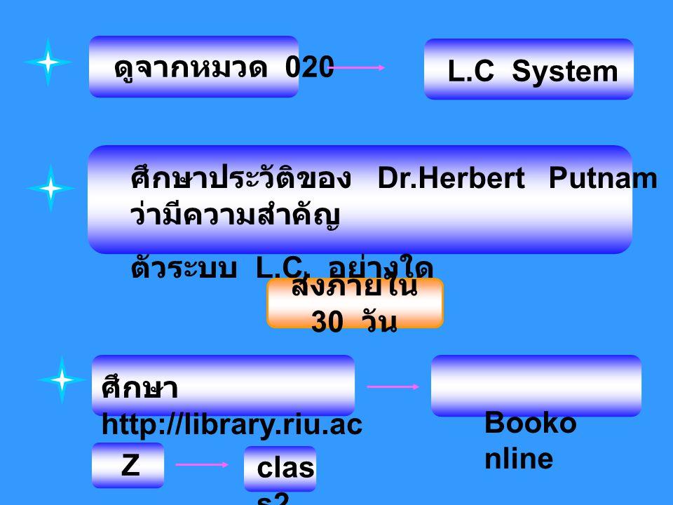 ศึกษาประวัติของ Dr.Herbert Putnam ว่ามีความสำคัญ ตัวระบบ L.C. อย่างใด ศึกษา http://library.riu.ac.th ดูจากหมวด 020 L.C System ส่งภายใน 30 วัน Booko nl