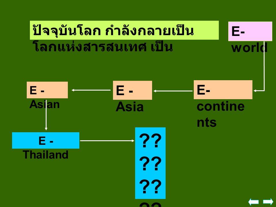 ปัจจุบันโลก กำลังกลายเป็น โลกแห่งสารสนเทศ เป็น E- world E - Asian E - Asia E- contine nts E - Thailand ?? ?? ?? ?? ?