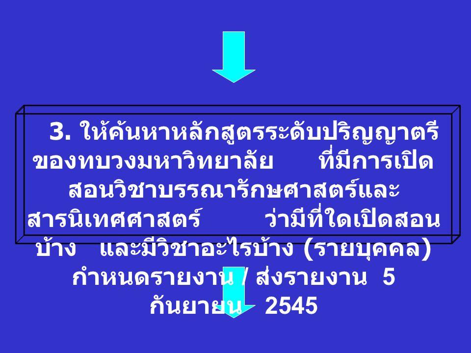 2. ให้ศึกษา Website ของ สำนักวิทยบริการ สถาบันราชภัฏ ทั่วประเทศ ( คนละ 1 ราชภัฏ ) ว่ามี องค์ประกอบ ใดบ้าง กำหนด รายงาน / ส่งรายงาน 29 สิงหาคม 2545 1.