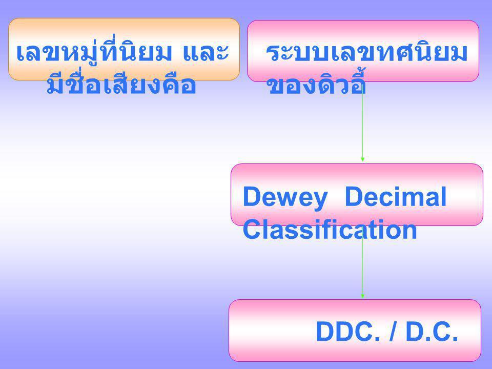 เลขหมู่ที่นิยม และ มีชื่อเสียงคือ ระบบเลขทศนิยม ของดิวอี้ Dewey Decimal Classification DDC. / D.C.