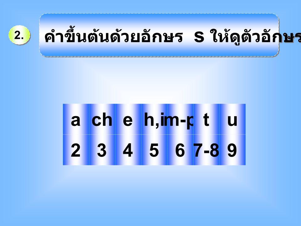 2. คำขึ้นต้นด้วยอักษร s ให้ดูตัวอักษรตัวที่ 2 คือ acheh,im-ptu 234567-8 9