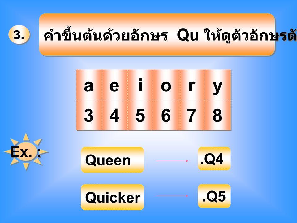 3. คำขึ้นต้นด้วยอักษร Qu ให้ดูตัวอักษรตัวที่ 3 คือ a a e e i i o o r r y y 3 3 4 4 5 5 6 6 7 7 8 8 Ex. : Queen.Q4 Quicker.Q5