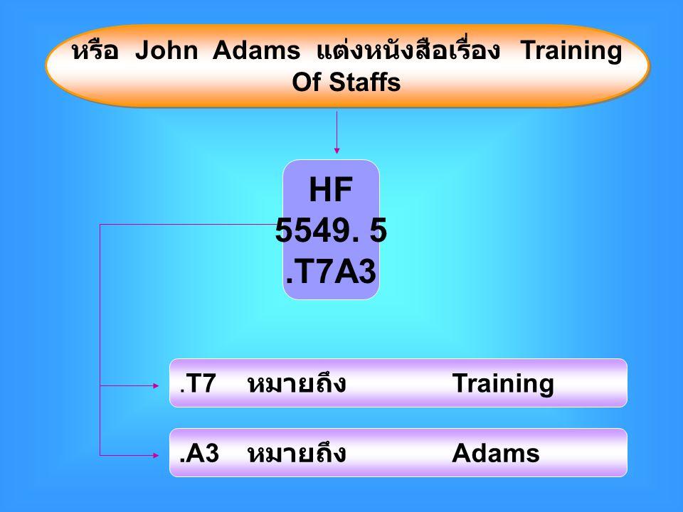 หรือ John Adams แต่งหนังสือเรื่อง Training Of Staffs หรือ John Adams แต่งหนังสือเรื่อง Training Of Staffs HF 5549.