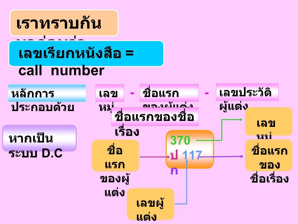 เราทราบกัน มาก่อนว่า เลขเรียกหนังสือ = call number หลักการ ประกอบด้วย เลข หมู่ - ชื่อแรก ของผู้แต่ง เลขประวัติ ผู้แต่ง ชื่อแรกของชื่อ เรื่อง หากเป็น ระบบ D.C 370 ป 117 ก เลข หมู่ ชื่อแรก ของ ชื่อเรื่อง เลขผู้ แต่ง ชื่อ แรก ของผู้ แต่ง -