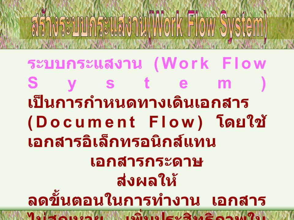 ระบบกระแสงาน (Work Flow System) เป็นการกำหนดทางเดินเอกสาร (Document Flow) โดยใช้ เอกสารอิเล็กทรอนิกส์แทน เอกสารกระดาษ ส่งผลให้ ลดขั้นตอนในการทำงาน เอกสาร ไม่สูญหาย เพิ่มประสิทธิภาพใน การทำงานในสำนักงาน