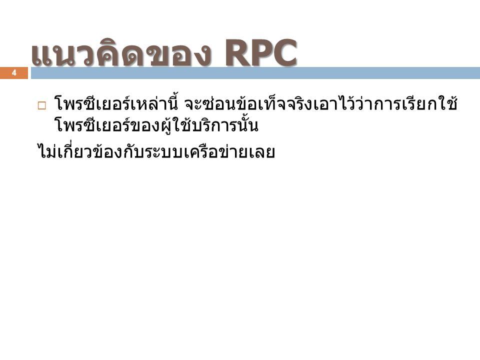  โพรซีเยอร์เหล่านี้ จะซ่อนข้อเท็จจริงเอาไว้ว่าการเรียกใช้ โพรซีเยอร์ของผู้ใช้บริการนั้น ไม่เกี่ยวข้องกับระบบเครือข่ายเลย แนวคิดของ RPC 4
