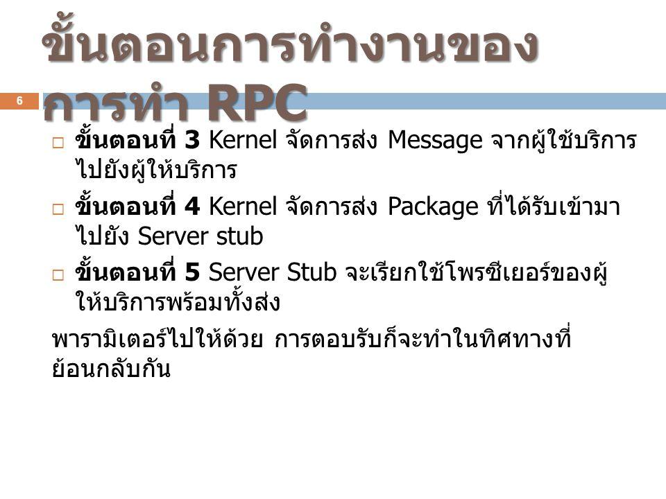  ขั้นตอนที่ 3 Kernel จัดการส่ง Message จากผู้ใช้บริการ ไปยังผู้ให้บริการ  ขั้นตอนที่ 4 Kernel จัดการส่ง Package ที่ได้รับเข้ามา ไปยัง Server stub 
