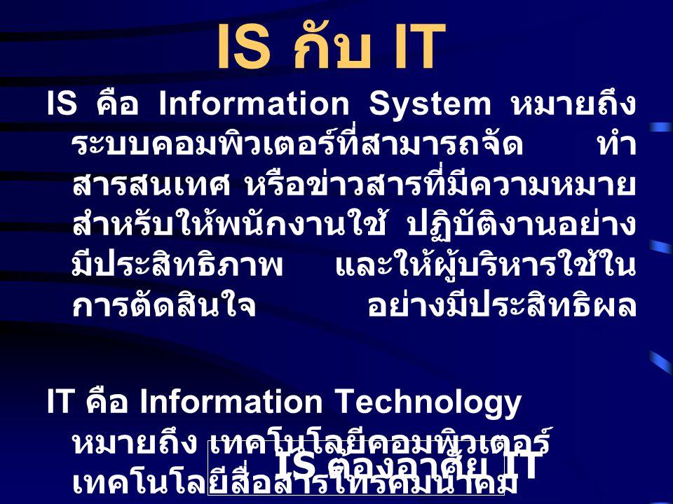 IS กับ IT IS คือ Information System หมายถึง ระบบคอมพิวเตอร์ที่สามารถจัด ทำ สารสนเทศ หรือข่าวสารที่มีความหมาย สำหรับให้พนักงานใช้ ปฏิบัติงานอย่าง มีประสิทธิภาพ และให้ผู้บริหารใช้ใน การตัดสินใจ อย่างมีประสิทธิผล IT คือ Information Technology หมายถึง เทคโนโลยีคอมพิวเตอร์ เทคโนโลยีสื่อสารโทรคมนาคม เทคโนโลยีสำนักงานอัตโนมัติ และ เทคโนโลยีการพิมพ์ IS ต้องอาศัย IT