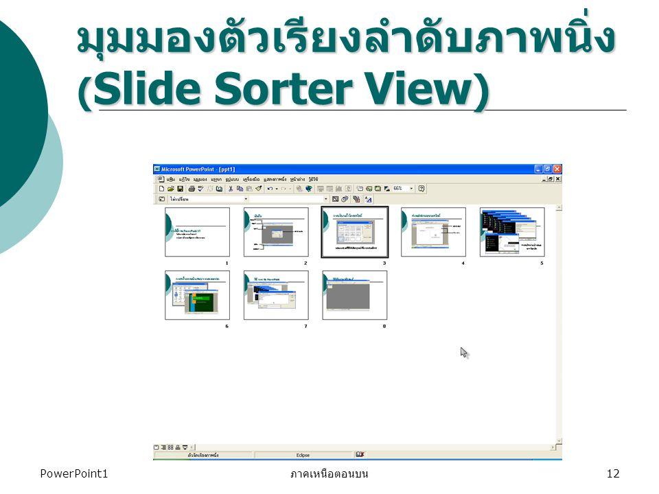 PowerPoint1 ภาคเหนือตอนบน 12 มุมมองตัวเรียงลำดับภาพนิ่ง ( Slide Sorter View )