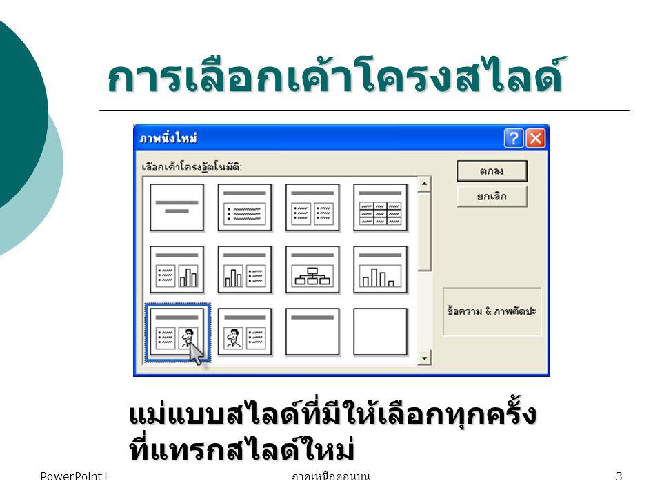 PowerPoint1 ภาคเหนือตอนบน 3 การเลือกเค้าโครงสไลด์ แม่แบบสไลด์ที่มีให้เลือกทุกครั้ง ที่แทรกสไลด์ใหม่