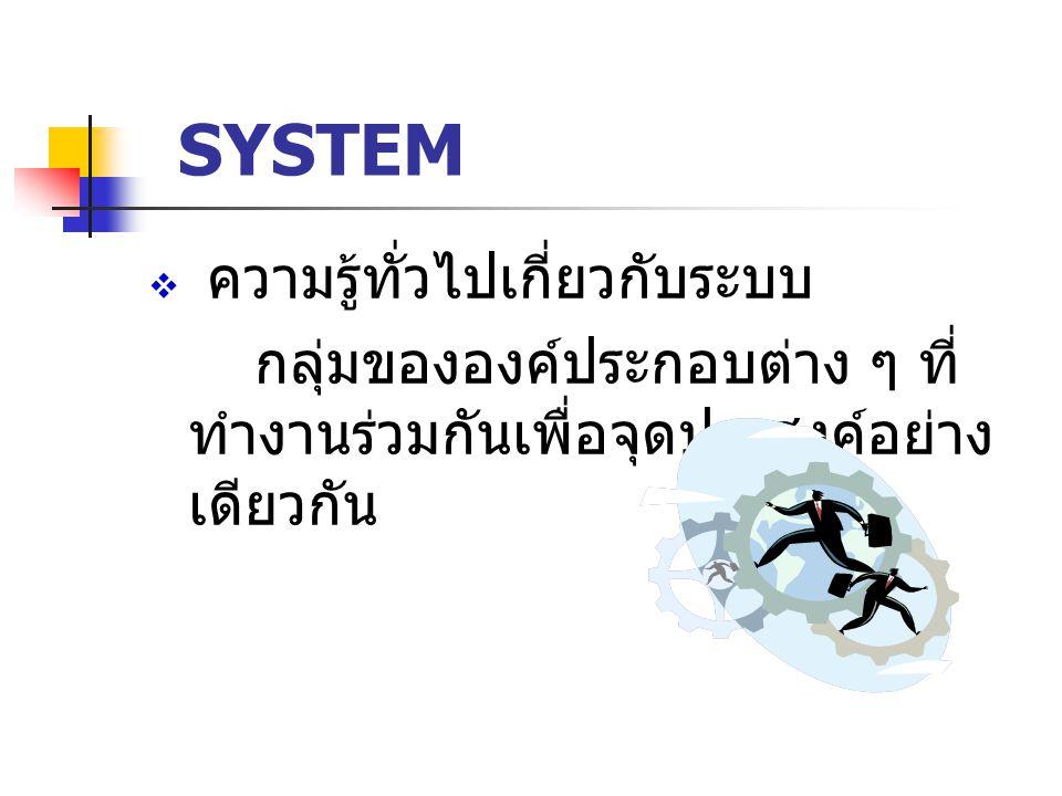 SYSTEM  ความรู้ทั่วไปเกี่ยวกับระบบ กลุ่มขององค์ประกอบต่าง ๆ ที่ ทำงานร่วมกันเพื่อจุดประสงค์อย่าง เดียวกัน