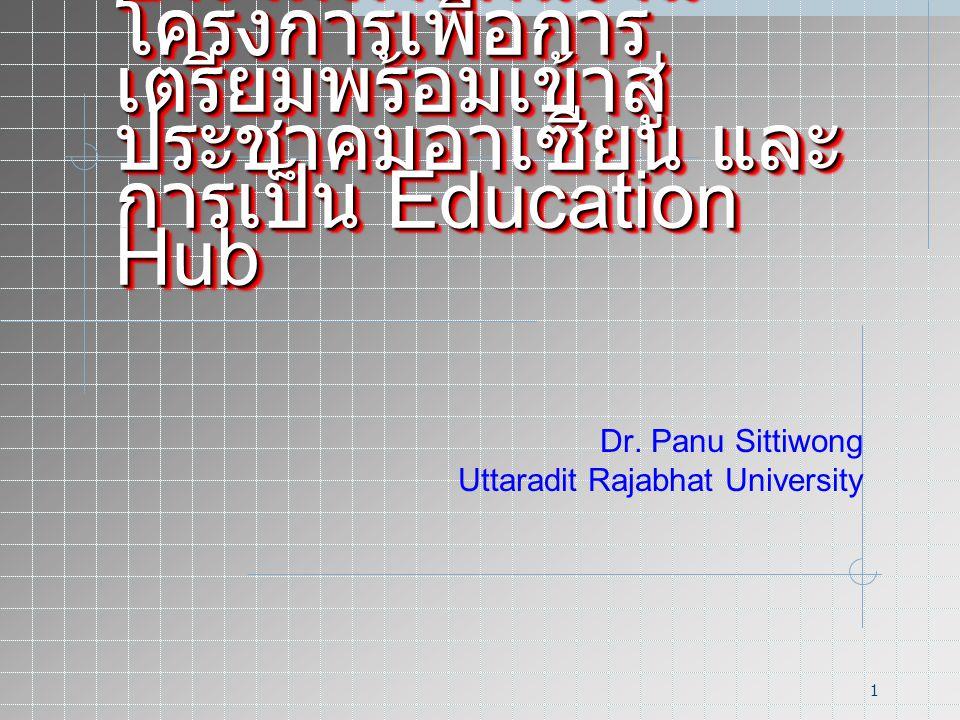 1 การจัดทำแผนงาน โครงการเพื่อการ เตรียมพร้อมเข้าสู่ ประชาคมอาเซียน และ การเป็น Education Hub Dr.