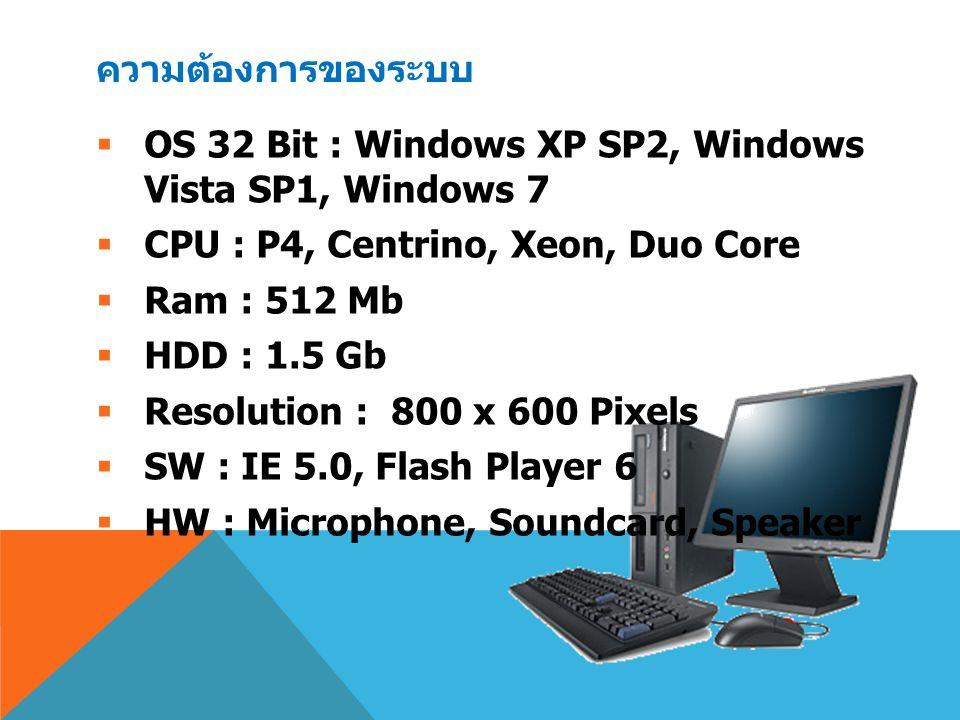 ความต้องการของระบบ  OS 32 Bit : Windows XP SP2, Windows Vista SP1, Windows 7  CPU : P4, Centrino, Xeon, Duo Core  Ram : 512 Mb  HDD : 1.5 Gb  Res