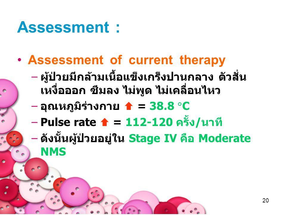20 Assessment of current therapy –ผู้ป่วยมีกล้ามเนื้อแข็งเกร็งปานกลาง ตัวสั่น เหงื่อออก ซึมลง ไม่พูด ไม่เคลื่อนไหว –อุณหภูมิร่างกาย  = 38.8  C –Puls