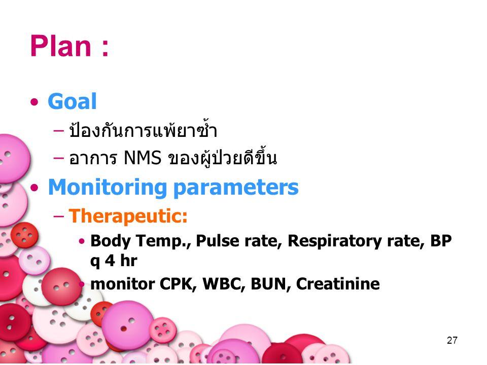 27 Plan : Goal –ป้องกันการแพ้ยาซ้ำ –อาการ NMS ของผู้ป่วยดีขึ้น Monitoring parameters –Therapeutic: Body Temp., Pulse rate, Respiratory rate, BP q 4 hr