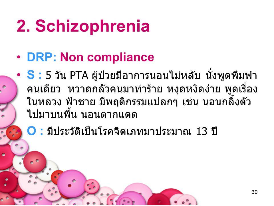 30 2. Schizophrenia DRP: Non compliance S : 5 วัน PTA ผู้ป่วยมีอาการนอนไม่หลับ นั่งพูดพึมพำ คนเดียว หวาดกลัวคนมาทำร้าย หงุดหงิดง่าย พูดเรื่อง ในหลวง ฟ