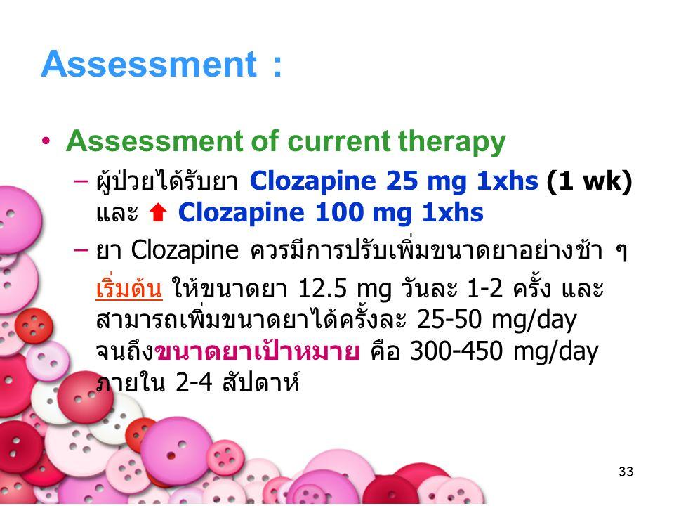 33 Assessment : Assessment of current therapy –ผู้ป่วยได้รับยา Clozapine 25 mg 1xhs (1 wk) และ  Clozapine 100 mg 1xhs –ยา Clozapine ควรมีการปรับเพิ่ม