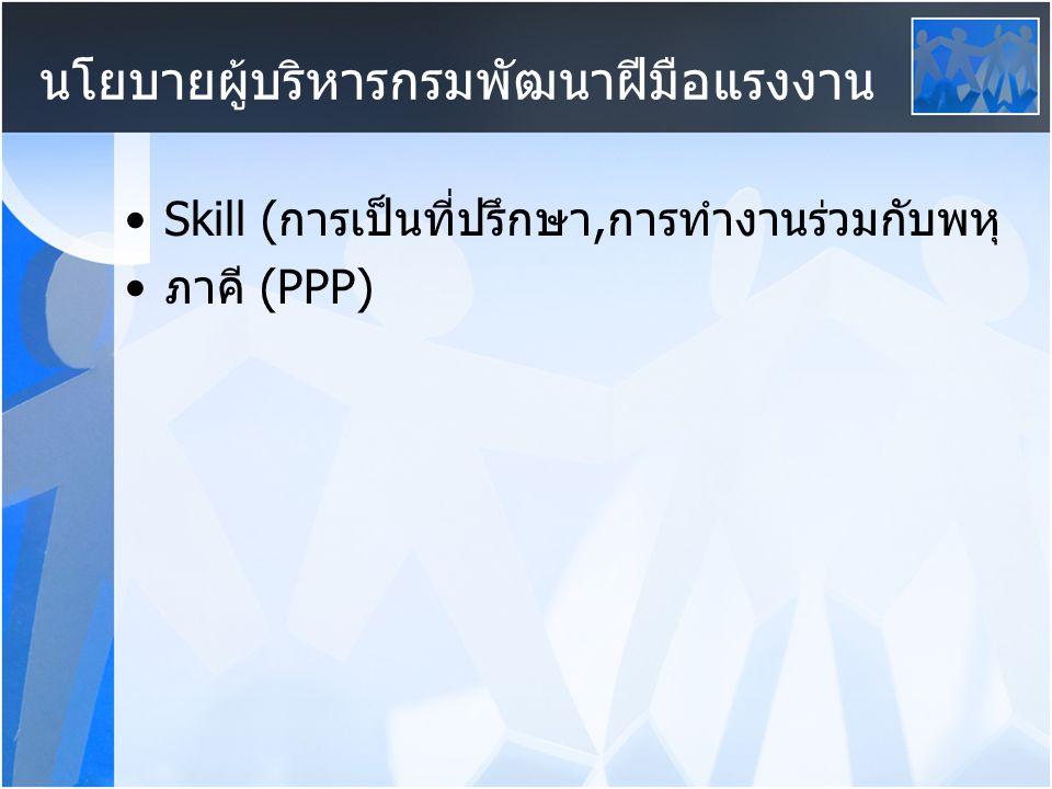 Skill (การเป็นที่ปรึกษา,การทำงานร่วมกับพหุ ภาคี (PPP) นโยบายผู้บริหารกรมพัฒนาฝีมือแรงงาน