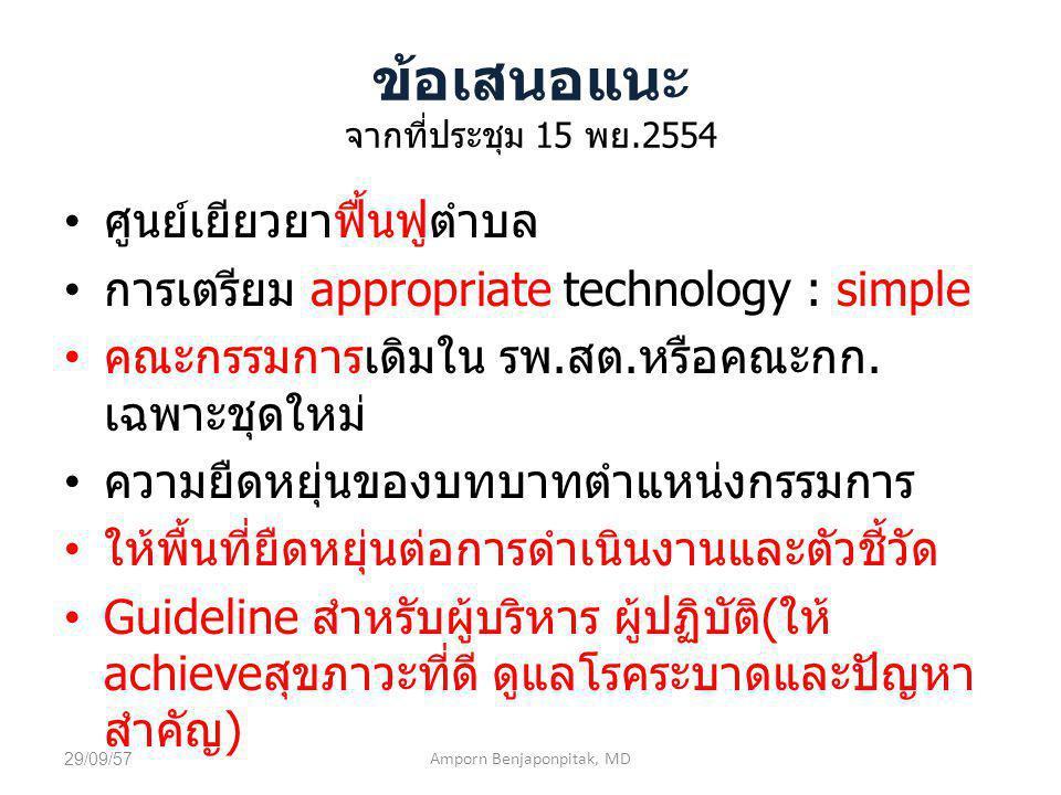 ข้อเสนอแนะ จากที่ประชุม 15 พย.2554 ศูนย์เยียวยาฟื้นฟูตำบล การเตรียม appropriate technology : simple คณะกรรมการเดิมใน รพ.สต.หรือคณะกก. เฉพาะชุดใหม่ ควา