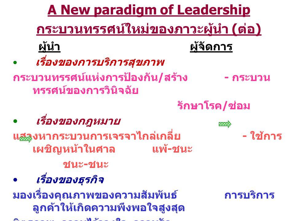 A New paradigm of Leadership กระบวนทรรศน์ใหม่ของภาวะผู้นำ ( ต่อ ) ผู้นำผู้จัดการ เรื่องของการบริการสุขภาพ กระบวนทรรศน์แห่งการป้องกัน / สร้าง - กระบวน ทรรศน์ของการวินิจฉัย รักษาโรค / ซ่อม เรื่องของกฎหมาย แสวงหากระบวนการเจรจาไกล่เกลี่ย - ใช้การ เผชิญหน้าในศาล แพ้ - ชนะ ชนะ - ชนะ เรื่องของธุรกิจ มองเรื่องคุณภาพของความสัมพันธ์ การบริการ ลูกค้าให้เกิดความพึงพอใจสูงสุด มิตรภาพ ความไว้วางใจ ความรัก (Total Stakeholder Satisfaction) (Total Customer Satisfaction)