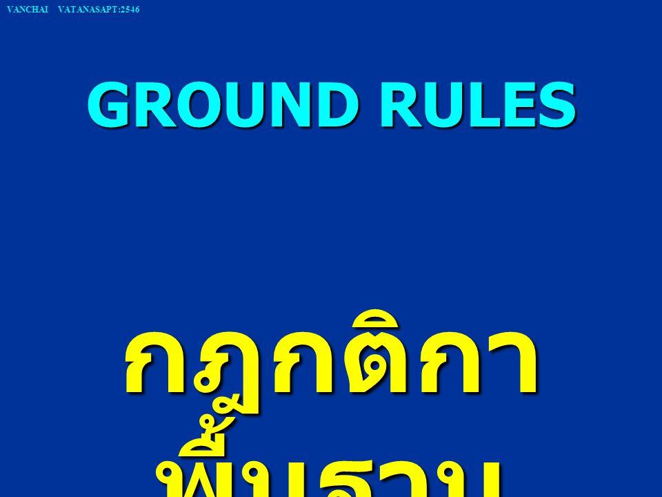 GROUND RULES กฎกติกา พื้นฐาน VANCHAI VATANASAPT:2546