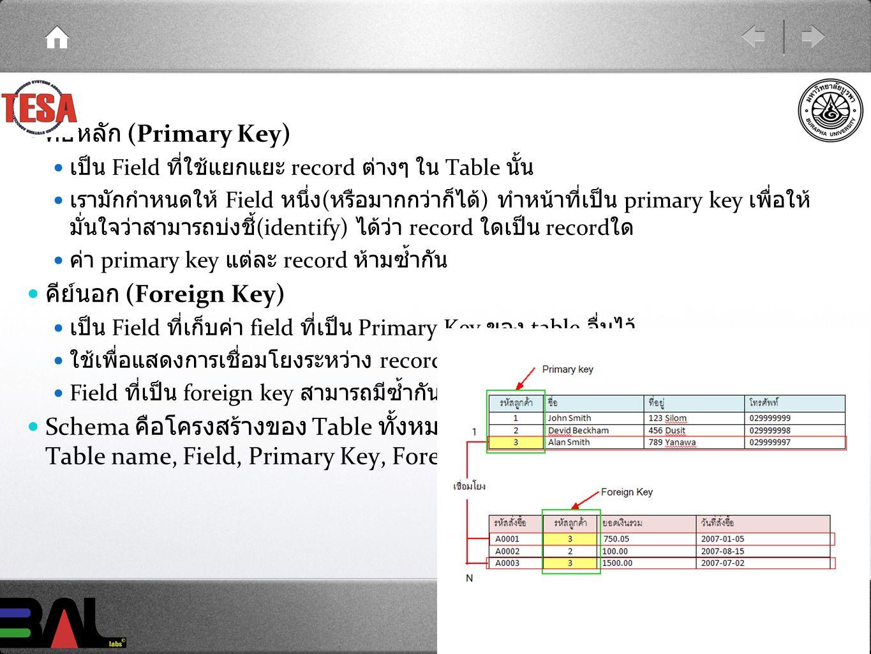 คีย์หลัก (Primary Key) เป็น Field ที่ใช้แยกแยะ record ต่างๆ ใน Table นั้น เรามักกำหนดให้ Field หนึ่ง ( หรือมากกว่าก็ได้ ) ทำหน้าที่เป็น primary key เพื่อให้ มั่นใจว่าสามารถบ่งชี้ (identify) ได้ว่า record ใดเป็น record ใด ค่า primary key แต่ละ record ห้ามซ้ำกัน คีย์นอก (Foreign Key) เป็น Field ที่เก็บค่า field ที่เป็น Primary Key ของ table อื่นไว้ ใช้เพื่อแสดงการเชื่อมโยงระหว่าง record ใน table ทั้งสอง Field ที่เป็น foreign key สามารถมีซ้ำกันได้ใน record ต่างๆ Schema คือโครงสร้างของ Table ทั้งหมดในฐานข้อมูลนั้นๆ โดยทั่วไปแสดง Table name, Field, Primary Key, Foreign Key