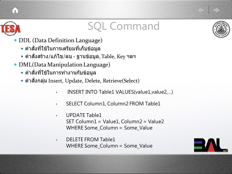 SQL Command INSERT INTO Table1 VALUES(value1,value2,…) SELECT Column1, Column2 FROM Table1 UPDATE Table1 SET Column1 = Value1, Column2 = Value2 WHERE Some_Column = Some_Value DELETE FROM Table1 WHERE Some_Column = Some_Value DDL (Data Definition Language) คำสั่งที่ใช้ในการเตรียมที่เก็บข้อมูล คำสั่งสร้าง / แก้ไข / ลบ - ฐานข้อมูล, Table, Key ฯลฯ DML(Data Manipulation Language) คำสั่งที่ใช้ในการทำงานกับข้อมูล คำสั่งกลุ่ม Insert, Update, Delete, Retrieve(Select)