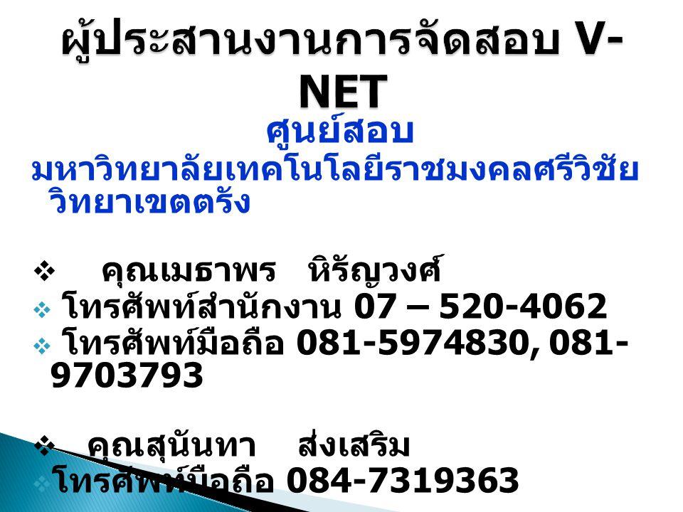 ศูนย์สอบ มหาวิทยาลัยเทคโนโลยีราชมงคลศรีวิชัย วิทยาเขตตรัง  คุณเมธาพร หิรัญวงศ์  โทรศัพท์สำนักงาน 07 – 520-4062  โทรศัพท์มือถือ 081-5974830, 081- 97
